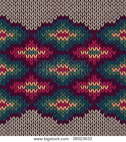 Knit Woolen Seamless Etnic Ornament Texture. Fabric Color Tracery Background