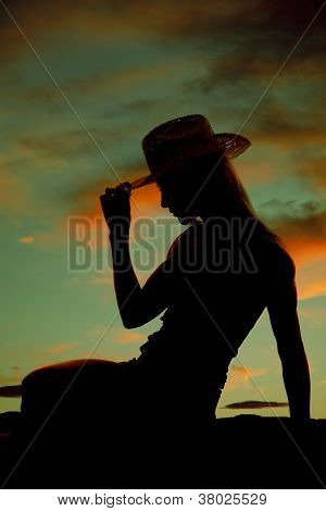 Cowgirl Hold Hat Silhouette Sit