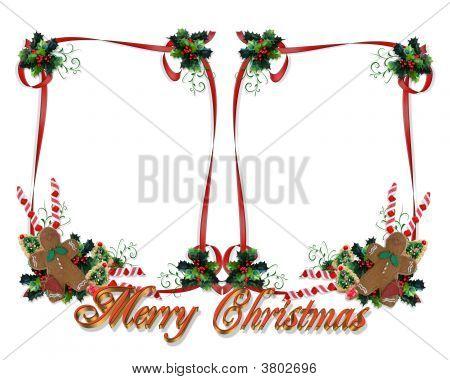 Weihnachten doppelten Rahmen mit 3D-Text
