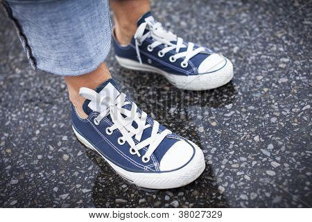 Blue Sneakers in theRain