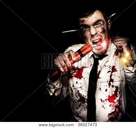 Crazy Zombie Businessman With Dynamite Explosives