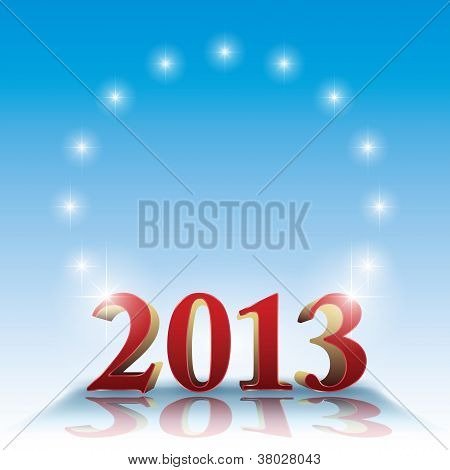 2013 Template - Stars On Blue And Copyspace