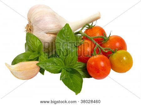 Raw Vegetables On White