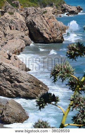 Wild cliffs and waves
