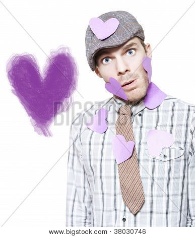 Isolated Love Struck Boy With Purple Heart Drawing
