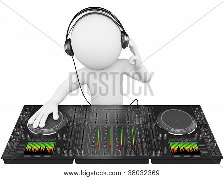 3D White People. Dj With A Mixer