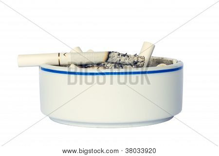 Ceramic Ashtray With Cigarette