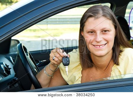 Car Driver Woman Smiling Showing New Car Keys