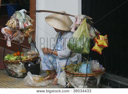 Saigon street fruit seller