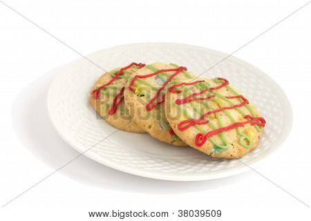 Christmas Cookies On A Plate, Isolated