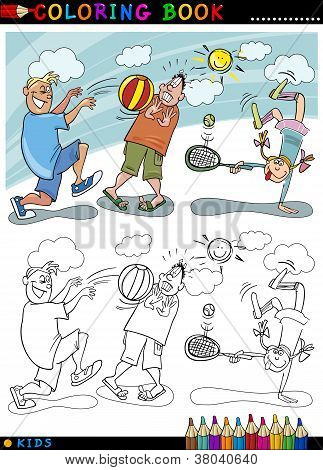 Children Playing Ball Cartoon For Coloring