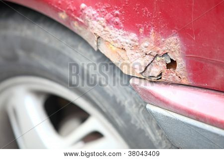 Close Up Of Old Rusty Car Door