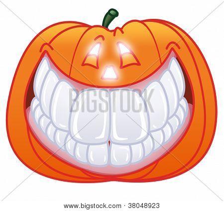 single fun halloween pumpkin smiling