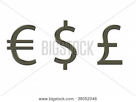 Currency symbol Euro Pound Dollar on white background