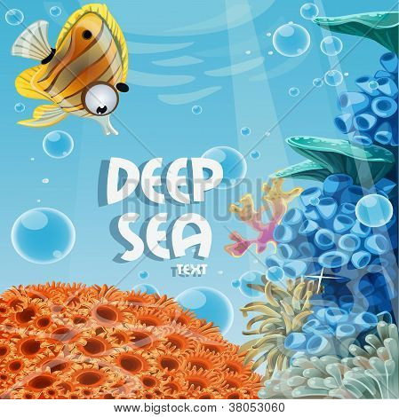 Banner deep blue sea with coral reefs and sea anemones
