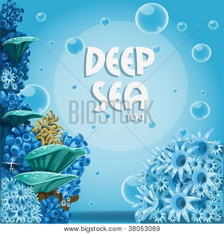 Deep sea blue background with actin and corals