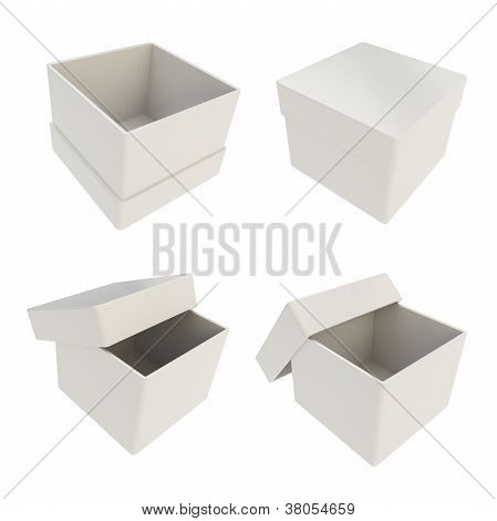 Set Of Four Gift Boxes Isolated On White