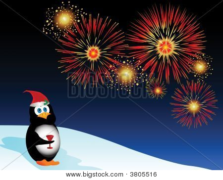 Festive Penguin Fireworks