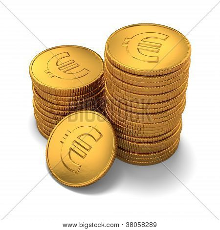 Small Group Of Gold Euro Coins On White