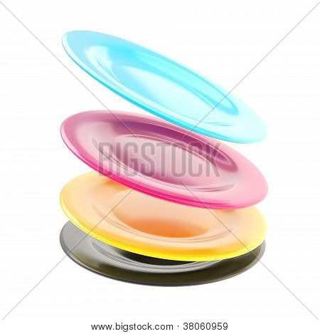 Stack Of Plate Dishes In A Motion Isolated On White