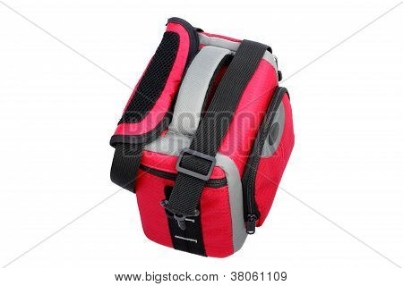 Red Photo Bag On White Top Left View