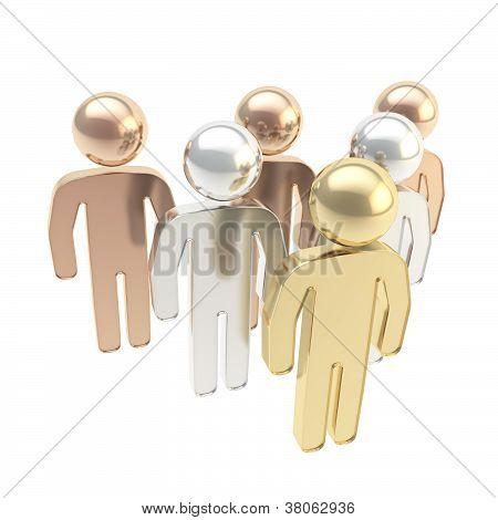 Six Symbolic Human Figures As Hierarchy Metaphor