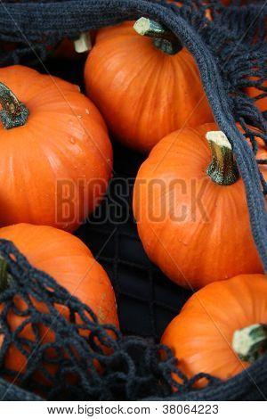 Orange Pumpkins In A Non-Plastic Shopping Bag