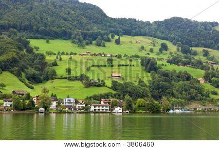 The Small Village On The Hills Around Lake Luzern