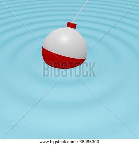 3D Render Of A Fishing Bobber In The Water