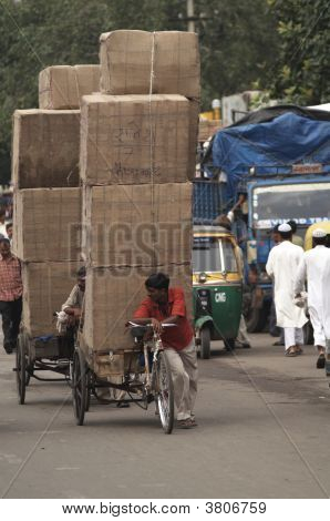 Heavily Loaded Rickshaw