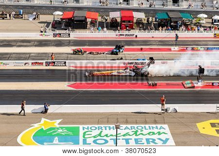 Top Fuel Dragster Burning Out