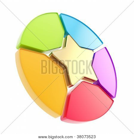 Five Sector Star Emblem Diagram Isolated On White