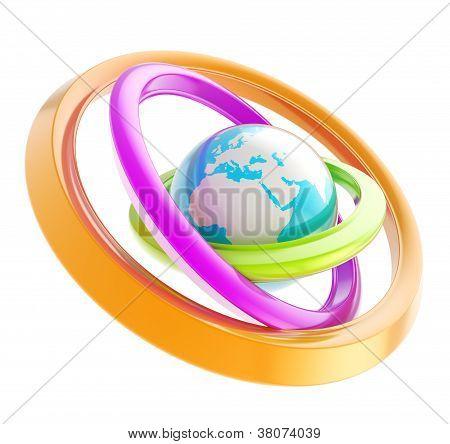 Earth Globe Emblem Inside The Ring Torus Isolated