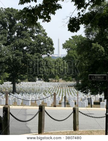 Arlington National Cemetery And The Washington Monument