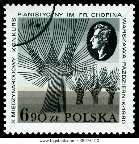 Vintage Postage Stamp.  Frederic Chopin  Piano Competition.