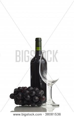 Grape, Red-Wine And Glass