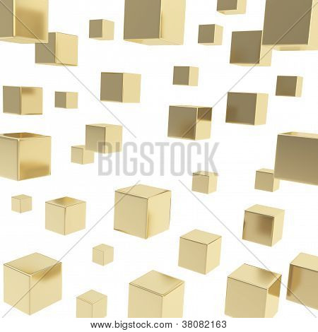 Cube Composition Over White Background As Abstract Backdrop