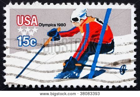 Postage Stamp Usa 1980 Downhill Skiing