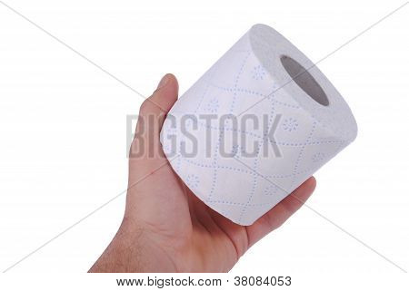 man hand with a toilet paper roll