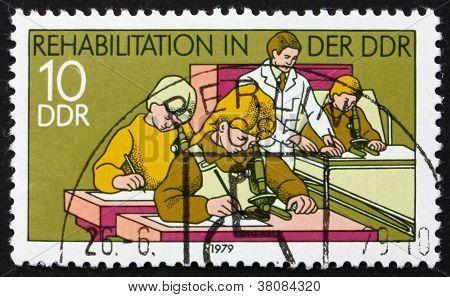 Postage Stamp Ddr 1979 Hospital Classroom, Rehabilitation In Ddr