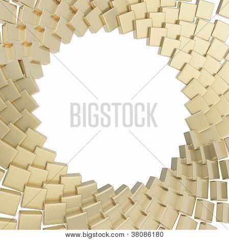 Abstract Copyspace Round Frame Cube Plate Composition