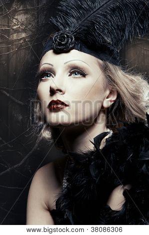 Female Retro Revival Portrait. 30's Of The Xx Century. Professional Makeup