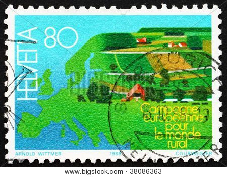 Postage Stamp Switzerland 1988 Map Of Europe