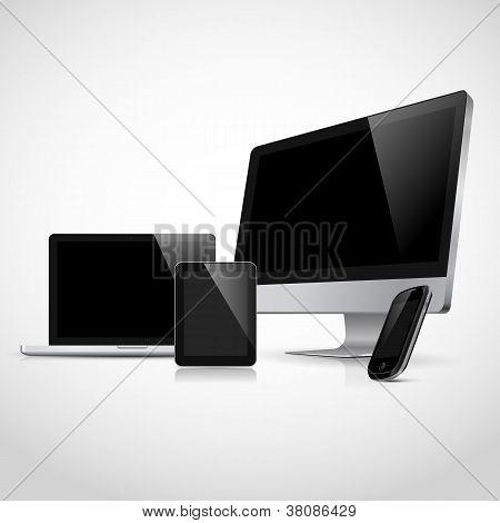 Portátil de vector realista, tablet PC, monitor y plantilla de teléfono móvil