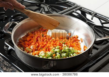 Sauteing Carrots and Onions