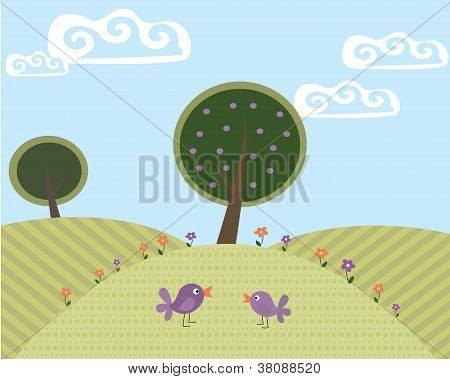 Cute Landscape with Tree And Birds