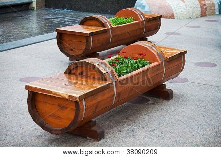 Wood Bench and Flowerbed