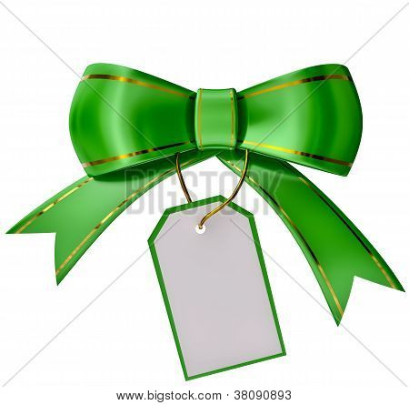 green Christmas bow with label