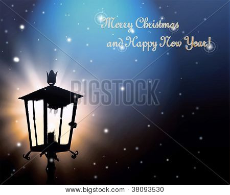 Street lamp lights in the night to Christmas card