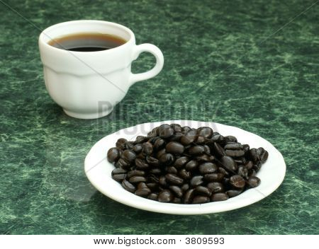 Demitasse And Coffee Beans
